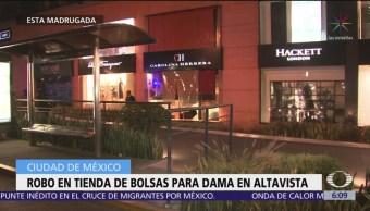 Roban tienda de bolsas para dama en Altavista, CDMX