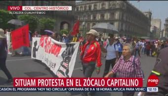SITUAM protesta en el Zócalo capitalino