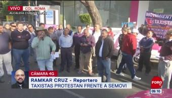 Taxistas protestan contra aplicaciones de transporte público en CDMX