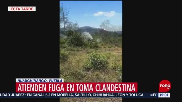 Foto: Toma Clandestina Fuga Combustible Puebla Huauchinango 9 de Abril 2019