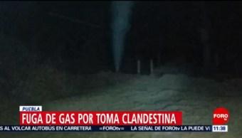 Toma clandestina provoca fuga en ducto de Pemex en Puebla