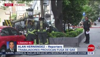 Foto: Trabajadores provocan fuga de gas en Polanco