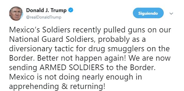 FOTO AMLO dice que se analazará el incidente que Trump denuncia en la frontera (Twitter 24 abril 2019)