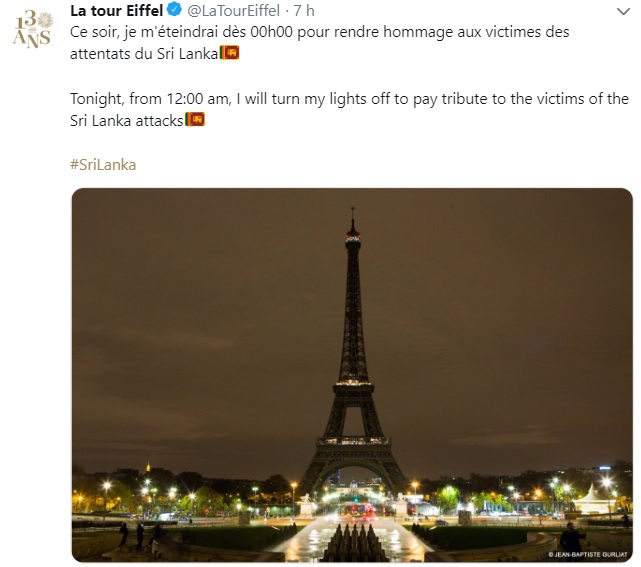 The Eiffel Tower turns off its lights to honor the victims