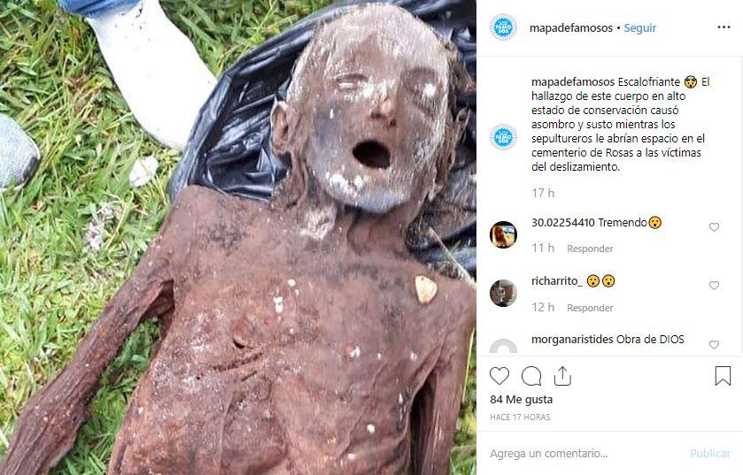 Una imagen del cuerpo momificado fue difundida por medios de comunicación locales y la cuenta de Instagram colombiana @mapadefamosos (Instagram @mapadefamosos)