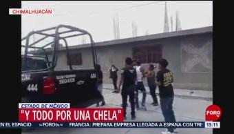 Foto: Vecinos Chimalhuacán Golpean Policías No Dejarlos Tomar Cerveza 3 Abril 2019