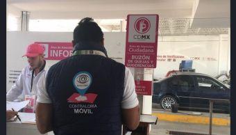 Foto: verificación vehicular, 13 de abril 2019. Twitter @ContraloriaCDMX