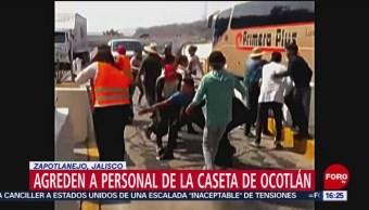 FOTO: Agreden a personal de la caseta de Ocotlán