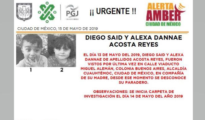 Foto Alerta Amber para localizar a Diego Said y Alexa Dannae Acosta Reyes 15 mayo 2019