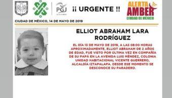 Foto Alerta Amber para localizar a Elliot Abraham Lara Rodríguez 14 mayo 2019
