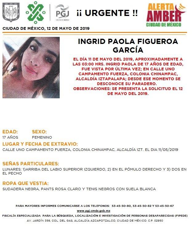 Foto Alerta Amber para localizar a Ingrid Paola 13 mayo 2019