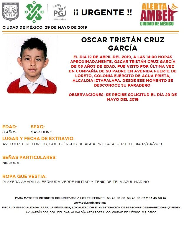Foto Alerta Amber para localizar a Oscar Tristán Cruz García 29 mayo 2019