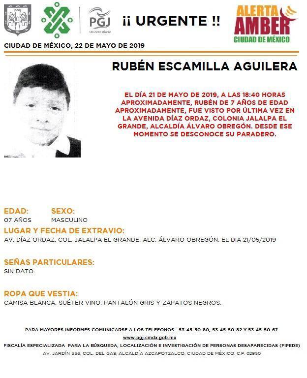 Foto Alerta Amber para localizar a Rubén Escamilla Aguilera 22 mayo 2019