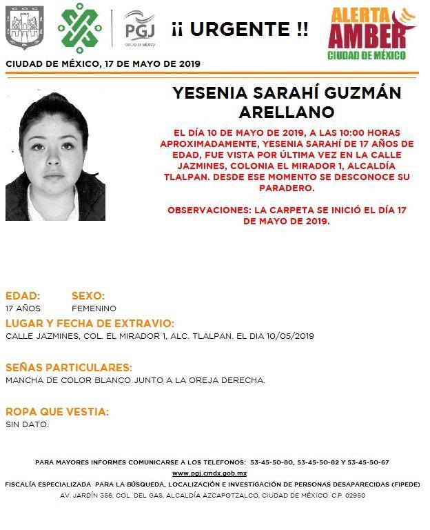 Foto Alerta Amber para localizar a Yesenia Sarahí Guzmán Arellano 17 mayo 2019