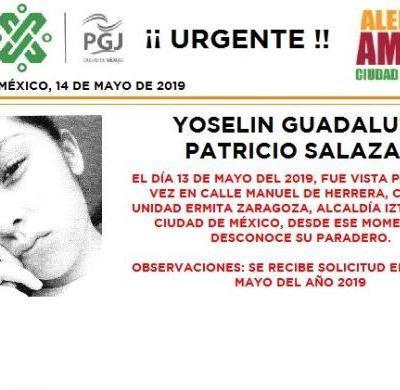 Alerta Amber: Ayuda a localizar a Yoselin Guadalupe Patricio Salazar