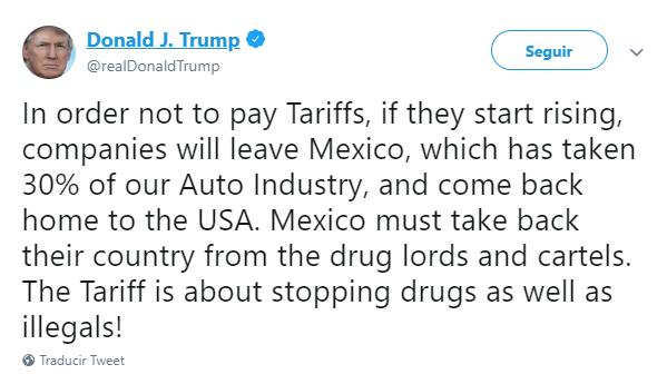 Foto: Tuit de Trump sobre retiro de empresas de EU, 31 de mayo de 2019, Estados Unidos