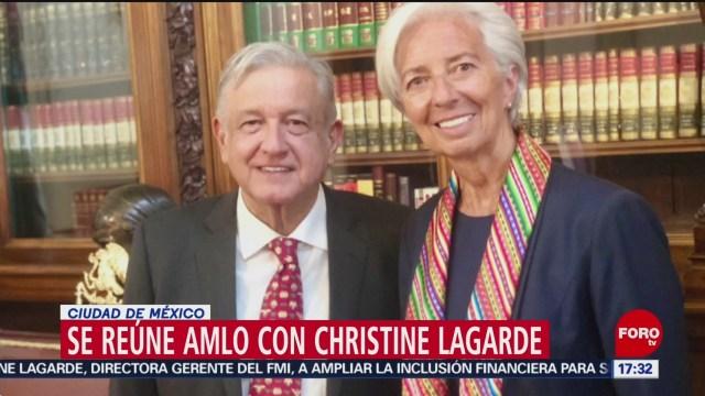 AMLO se reúne con Christine Lagarde en Palacio Nacional