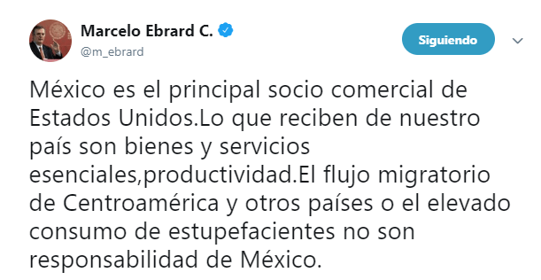 IMAGEN Aranceles para México, trato injusto de Trump, dice Marcelo Ebrard (Twitter 31 mayo 2019 cdmx)