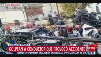 FOTO: Así golpean a conductor de tráiler que provocó accidente en Santa Fe, 26 MAYO 2019