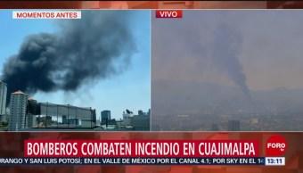 FOTO: Bomberos combaten incendio en Cuajimalpa