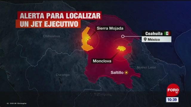 Buscan jet ejecutivo desaparecido en Coahuila