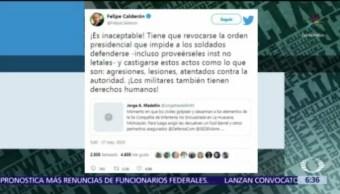 Calderón pide que dejen que Ejército se defienda