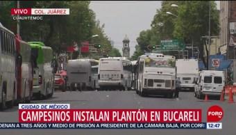 Campesinos instalan plantón en Bucareli, CDMX
