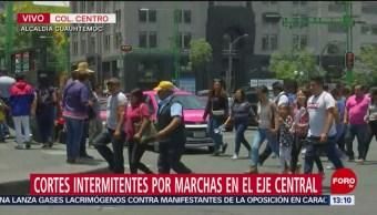 FOTO: Cortes intermitentes por marchas en Eje Central, 1 MAYO 2019