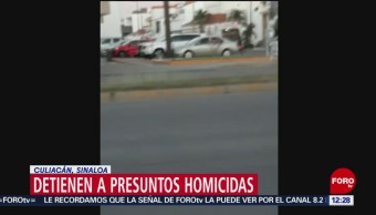 Detienen a presuntos homicidas de dos jóvenes en estacionamiento de farmacia en Culiacán