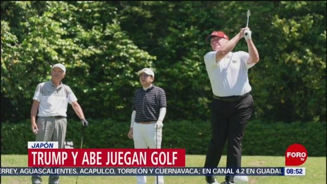 FOTO: Donald Trump juega golf con el Primer Ministro de Japón, 26 MAYO 2019