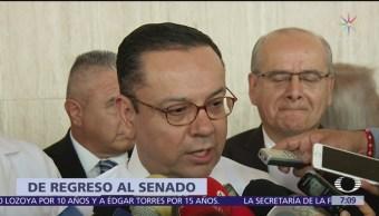 Envía Germán Martínez solicitud para regresar al Senado