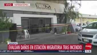Evalúan daños en Estación Migratoria tras incendio en