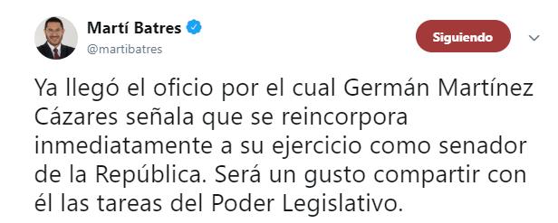 IMAGEN Germán Martínez envía oficio al Senado para regresar (Twitter Martí Batres 22mayo 2019 cdmx)