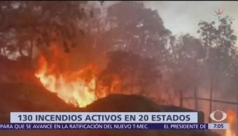 Hay 130 incendios activos en 20 entidades de México, informa Conafor