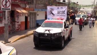 Foto: homenaje a brigadista muerto en Tixtla, Guerrero, 8 de mayo 2019. Twitter @Janosikgarciaz