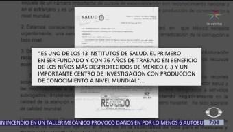 Hospital Infantil de México envía carta a AMLO