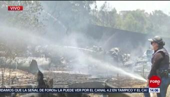 FOTO: Incendio en Cuajimalpa consume desperdicios
