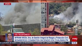 FOTO: Incendio en Cuajimalpa no pone en riesgo a vecinos: Myriam Urzúa