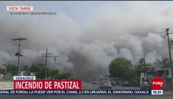 FOTO: Incendio en pastizal en Veracruz
