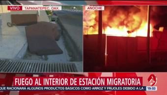 FOTO: Investigan incendio en estación migratoria en Oaxaca, 12 MAYO 2019