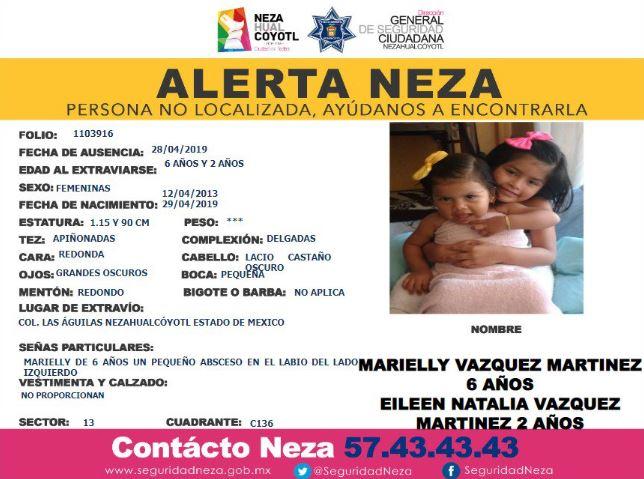 Las autoridades municipales también emitieron una alerta de búsqueda para las dos pequeñas, Marielly y Eileen Vázquez Martínez (Twitter @siadeac)