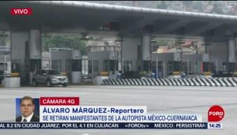 FOTO: Manifestantes liberan autopista México-Cuernavaca, 24 MAYO 2019
