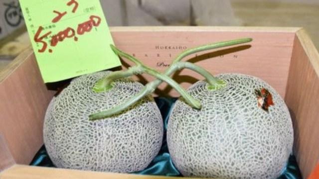 Dos melones, subastados en Japón a precio récord de 40,800 euros