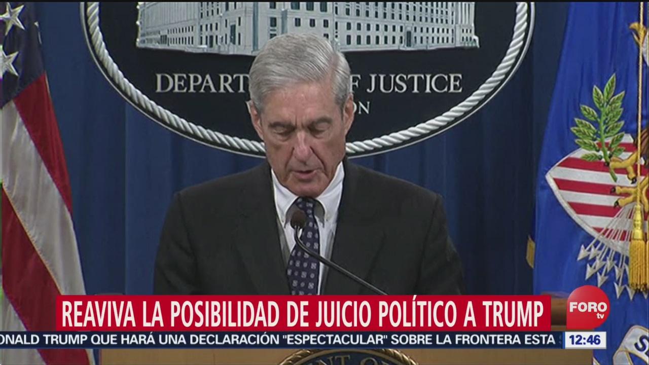 Mueller reaviva la posibilidad de juicio político a Trump