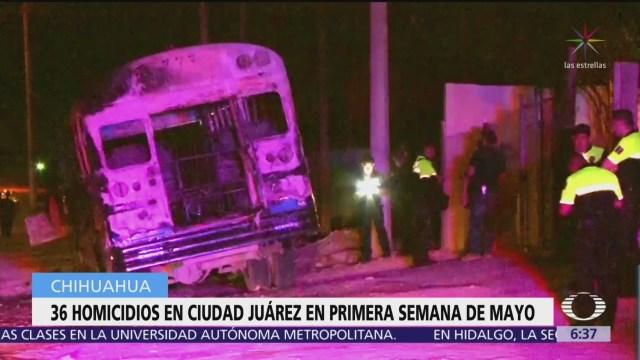 Ocurren 36 homicidios en Ciudad Juárez en la primera semana de mayo