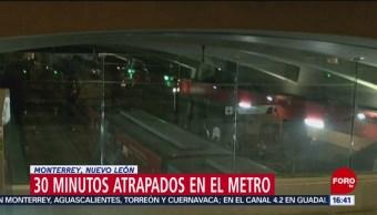 FOTO: Pasajeros, atrapados en el Metro de Monterrey, 28 MAYO 2019