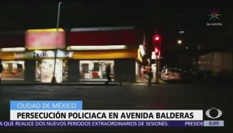 Policías persiguen a delincuente en avenida Balderas, CDMX