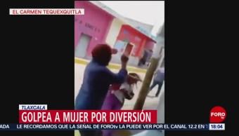 FOTO: Por juego, hombre ebrio golpea a mujer en Tlaxcala