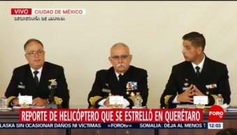 Presentan informe sobre caída de helicóptero en Querétaro