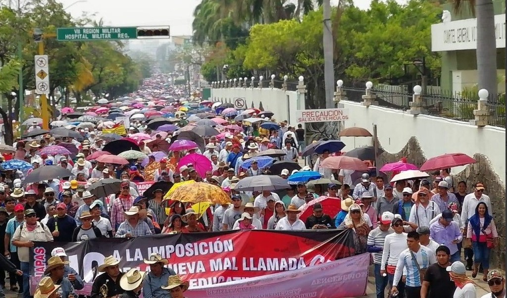 Foto: Marcha de la CNTE en Chiapas,15 de mayo 2019. Twitter @AlertaChiapas